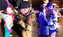 Firefighter has Special Surprise for Girlfriend and her Daughter at Christmas Parade