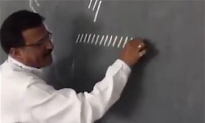 Teacher draws short identical lines on a chalkboard. When he connects them—my mind is blown