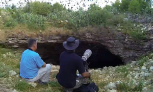 These men find a cave, but when they wait and see what comes out—this is actually terrifying