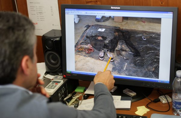 File photo featuring the Head of the Homicide Squad of Palermo, Sicily, explaining the details of an unrelated investigation. (MARCELLO PATERNOSTRO/AFP/Getty Images)
